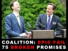 Prime Minister David Cameron (R) and Deputy Prime Minister Nick Clegg share a joke as they hold their first joint press conference in the Downing Street garden